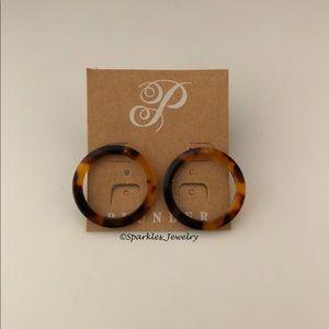 Plunder DELSIE Round Brown & Amber Circle Earrings